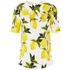 Dolce & Gabbana Lemon Print Crepe Top (£595) ❤ liked on Polyvore featuring tops, dolce gabbana top, white top, relaxed fit tops, lemon print top and crepe top