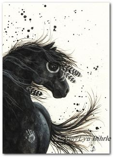 Native American Black Horse Feathers Mustang ArT -Fine ArT Prints by AmyLyn Bihrle