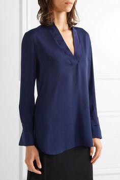 Navy stretch-crepe  Slips on 95% polyester, 5% elastane; trim: 100% silk Hand wash Designer color: Midnight Heaven