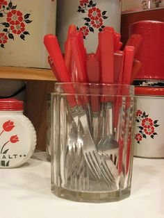 My dear friend Sigrid - use to keep her teaspoons on her table just like this...