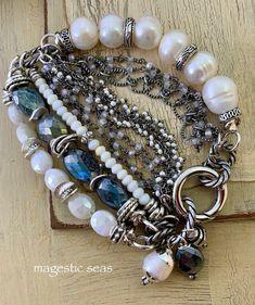 Opal, Pearl and Labradorite boho bracelet! Bohemian Bracelets, Bohemian Necklace, Beaded Bracelets, Expensive Stones, Amethyst Bracelet, Rainbow Moonstone, Labradorite, Opal, Gifts For Her