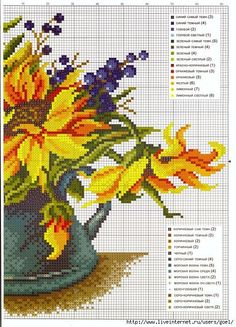 cross-stitch sunflower & berries, part 2... with the color chart