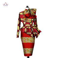 African Clothes Women Ankara Tops Two Piece Set Long Sleeve Crops Tops & Skirt Set Women Bazin Riche African Clothing African Clothing For Men, African Dresses For Women, African Women, African Clothes, Ankara Tops, Crops Tops, Suits For Women, Clothes For Women, Dashiki Dress