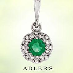 "4mm Emerald and .04ct Diamond Pendant on 14K White Gold 4mm Emerald and .04ct Diamond Pendant on 14K White Gold 18"" chain."