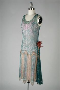 Vintage 1920's Teal Lace Metallic Embroidery Flapper Dress