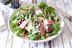 Qooking.ch | Salade d'agneau à la grenade, betterave et yoghourt Grenade, Potato Salad, Potatoes, Ethnic Recipes, Food, Lamb, Salads, Greedy People, Potato