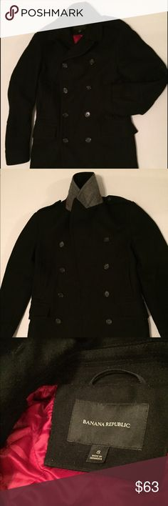 Banana Republic black pea coat Just worn twice. Compact melton wool is tightly woven, then felted and heavily brushed for an ultra soft feel. Exceptionally warm and weather resistant. Crafted from luxury Italian wool blends.  62% wool, 20% nylon,  Dry clean. Imported.  PRODUCT DETAILS Double-breasted. Front pockets. Banana Republic Jackets & Coats Pea Coats