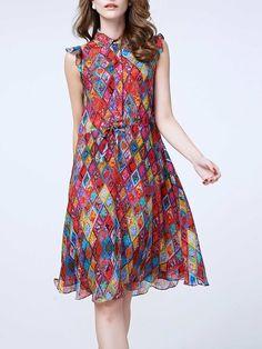 Shop Midi Dresses - Frill Sleeve Geometric Vintage Shirt Collar Midi Dress online. Discover unique designers fashion at StyleWe.com.