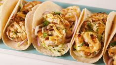 Cilantro-Lime Shrimp Tacos Will Make You Wish Taco Tuesday Was Every Day Best Cilantro-Lime Shrimp Tacos Recipe - How to Make Cilantro-Shrimp Tacos Shrimp Dishes, Fish Dishes, Mexican Dishes, Shrimp Appetizers, Shrimp Pasta, Main Dishes, Frozen Shrimp, Shrimp Taco Recipes, Fish Recipes