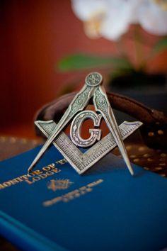 Metallic Square & Compasses Emblem.