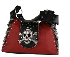 Pink and Black Skull Purse | Crystal skull Buckle with chain embellishment – Gothic | Punk | Rock ...