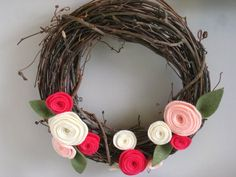 Wreath with Pink and Off-White Felt Roses by @KnittersforKnockers, $12.00 - raises money for @komenforthecure