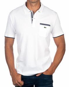 c54d0df82 Polo Lacoste Blanco - Bolsillo Lacoste Polo Shirts, Lacoste Men, Polo T  Shirts,