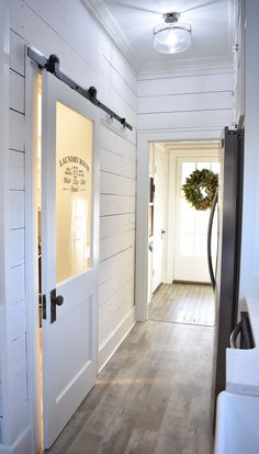 Feature Friday: Simply Southern Cottage – Southern Hospitality - Top Of The World Mudroom Laundry Room, Laundry Room Doors, Laundry Room Remodel, Farmhouse Laundry Room, Laundry Room Design, Cottage Farmhouse, Farmhouse Decor, Farmhouse Homes, Farmhouse Ideas