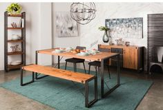 Lulu & Georgia's Zeven Bench// Perfect for an industrial dining space. #LANDGATHOME