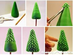 You can do this with fondant :) quick easy fimo polymer clay christmas tree figure or cake topper ornament made in minutes for emergency last minute christmas cake decoration Cake Decorating Techniques, Cake Decorating Tutorials, Cookie Decorating, Decorating Ideas, Fondant Toppers, Fondant Cakes, Cupcake Cakes, Fondant Tree, Fondant Figures