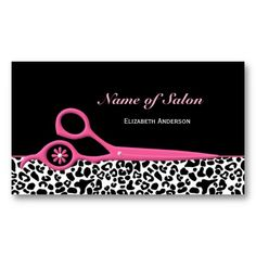 Trendy Pink and Black Leopard Hair Salon Scissors Business Card Template