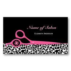 Trendy Pink and Black Leopard Hair Salon Scissors Business Card Template