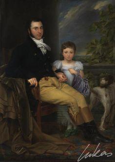 Portret van een voornaam man met zijn dochter en een jachthond.