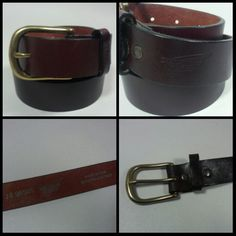 "NICE Men's Red Wing Shoes Cordovan Brown Leather Belt USA MADE Brass Buckle-38"" #RedWing"