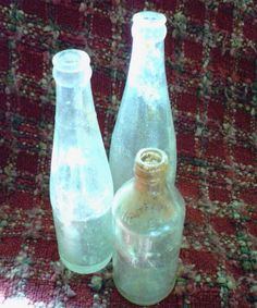 Check out this item in my Etsy shop https://www.etsy.com/listing/217293530/set-of-3-vintage-clear-glass-bottles