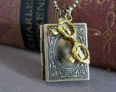 Becky- The Reader Pendant, Book Necklace with reading glasses great for book lovers and teachers. $18.50, via Etsy.