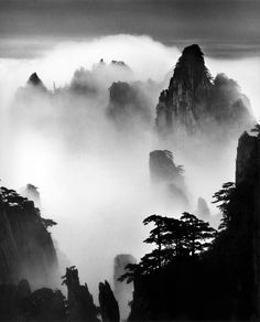 Wang Wusheng (born Huangshan Disciples of Buddha and Fairy Maiden Peak, 2004 Inkjet print, 40 x 32 inches, ×. Chinese Landscape Painting, Japanese Painting, Chinese Painting, Chinese Art, Japanese Art, Landscape Paintings, Landscape Photos, Landscape Photography, Contemporary Photography