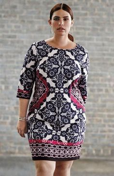 Plus Size Geo Print Ponte Sheath Dress