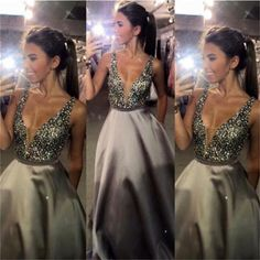 Charming V-Neck Sexy Popular Evening Sparkly Custom Make Long Prom Dress Ball Gown, PD0095