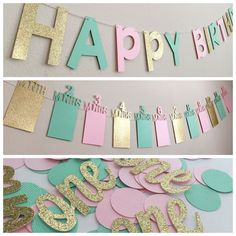 Pink & Gold Birthday Decorations, First Birthday Party Decorations, Pink and Gold First Birthday Banner, First Birthday Photo Banner First Birthday Decorations Boy, Pink First Birthday, Pink Gold Birthday, First Birthday Banners, First Birthday Parties, First Birthdays, Birthday Box, First Birthday Favors, Birthday Ideas