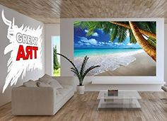 Sandy beach with palm trees and the sea photo wallpaper - paradise beach and palm trees mural - XXL beach wall decoration 82.7 Inch x 55 Inch - Prints - Amazon.com