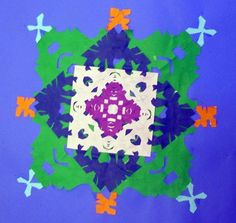 5th Grade Symmetrical Snowflake Designs. Great tie in with math!