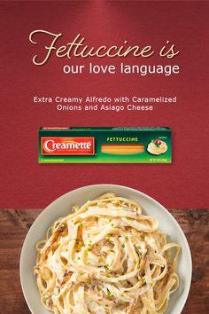 I Love Food, Good Food, Asiago Cheese, Fettuccine Alfredo, Pasta, Health Eating, Caramelized Onions, Recipe Box, Sagittarius