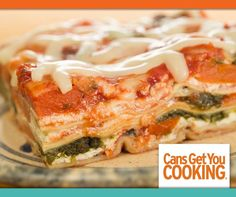 Skip the meat and try this Vegetable Lasagna made with your canned favorites: spinach, tomatoes and carrots!