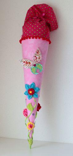 """Schultüte """"Blumenwiese"""" , Zuckertüte, Handarbeit von Anastasiyas Stoffmärchen auf DaWanda.com"""