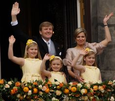 King Willem-Alexander, Queen Maxima, princess Catharina-Amalia, princess Alexia and princess Ariane.