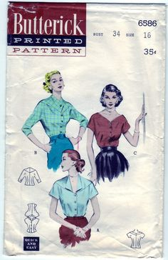 FREE SHIPPING Vintage 1953 Butterick 6586 Sewing Pattern Misses' Blouse with Choice of Necklines Size 16 Bust 34