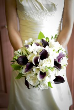 Denver, CO Wedding. Purple and white wedding bouquet with roses and calla lillies