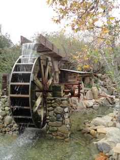 This is a water wheel from the Irvine park. I really liked the whole scene and tried to capture this tiny corner into a nice picture. Irvine Park, Old Grist Mill, Water Powers, Water Mill, Country Scenes, Old Barns, Le Moulin, Covered Bridges, Old Buildings