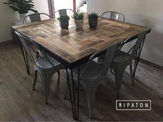 Atelier Ripaton - Hairpin Legs - Belle table à manger carrée ! www.ripaton.fr #DIY #Meuble #Furniture #Hairpin #HairpinLegs #Épingle #Design #Déco #Décoration #DoItYourself #HomeMade #FaitMain #Intérieur #PiedDeTable #Inspiration