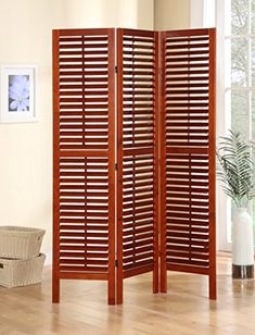 3 Panel Solid Wood Screen Room Divider with Full Length Shutters, Walnut Legacy Decor http://www.amazon.com/dp/B00M4Q855A/ref=cm_sw_r_pi_dp_IwzOvb188656V