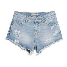 Medium Denim Shorts ($21) ❤ liked on Polyvore featuring shorts, bottoms, pants, short, ripped short shorts, short jean shorts, distressed shorts, torn shorts and jean shorts