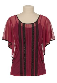 Chiffon Lace and Embellished Top