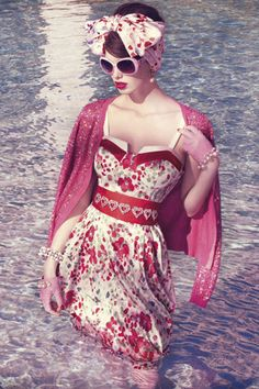 A captivatingly gorgeous vintage inspired summer look by Australian designer Alannah Hill.