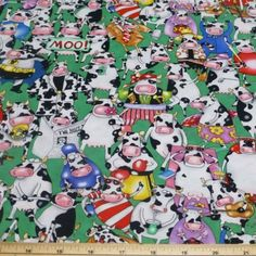 On A Lark Crowded Cows 100% Cotton Fabric | eBay Cows, The 100, Cotton Fabric, Snoopy, Character, Ebay, Cotton Textile, Lettering