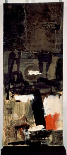 Robert Rauschenberg - Forge 1959 Combine: oil, metal, paper, printed paper, fabric, sock, necktie, and paper plate on canvas (185.4 x 78.7 cm)