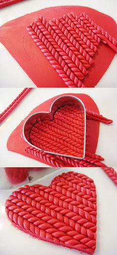 """Knitted"" polymer clay heart tutorial #diy"
