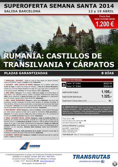 RUMANÍA: Castillos de Transilvania ¡¡Superoferta Semana Santa: 12 y 19 abril!! sal. Barcelona ultimo minuto - http://zocotours.com/rumania-castillos-de-transilvania-superoferta-semana-santa-12-y-19-abril-sal-barcelona-ultimo-minuto/