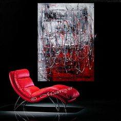RED Painting Drip Art abstract art Size 52 x 32 by largeartwork