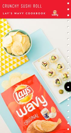 Use LAY'S® Wavy Original Potato Chips to whip up these Crunchy Sushi Rolls. Click pin to view the whole recipe.